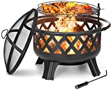 "KINGSO 2-in-1 Outdoor Fire Pit with Cooking Grate 30"" Heavy Duty Fire Pits Outdoor Wood Burning Steel BBQ Grill Firepit Bowl with Spark Screen Cover Log Grate Fire Poker for Backyard Bonfire Patio"