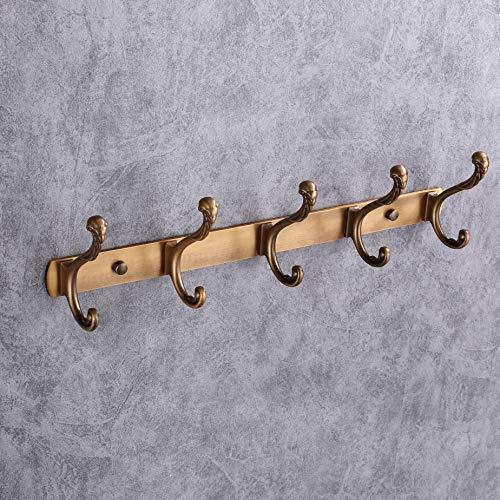 LEBENSWERT Garderobenhaken Vintage Garderobenleiste Tür Hakenleiste mit 4 Kleiderhaken Antik Wandhaken für Bad Küche Wohnzimmer, Dunkles Gold (5 Haken)