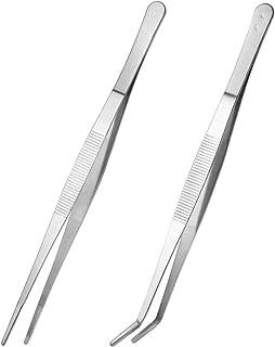 VORCOOL 2 piezas de pinzas rectas y curvas pinzas pinzas de alimentación de acero inoxidable para la cocina alimentos reptiles serpientes lagartos araña - plata