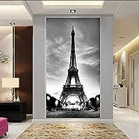 Djskhf 家の装飾3D不織布壁紙エッフェル塔部屋玄関ホール紙コラージュ壁装飾レストラン 360X250Cm