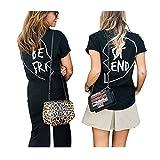 Best Friends Tee Shirt Femme été Tumblr Swag Chic Sexy imprimé Noir Top Haut (Noir...