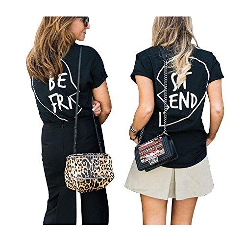 Preisvergleich Produktbild Beste Freunde T Shirts Damen BFF für Zwei mädchen Best Friends Sommer Tumblr Schwarz Oberteile (Weiß BE,  Small)