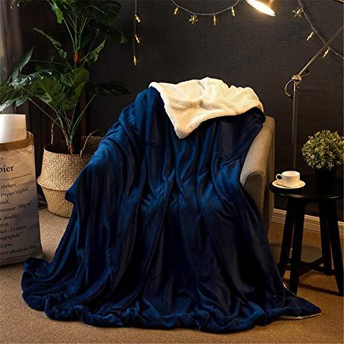 OMGPFR Funda nórdica de Lujo Lanzar, Toalla de sofá clásica Manta de Aire Acondicionado Suave Calentar Cómodo Sencillez para Adulto Niño Siesta Sala Casa Decoración Cuatro Estaciones,Azul,1 x 1.6 M