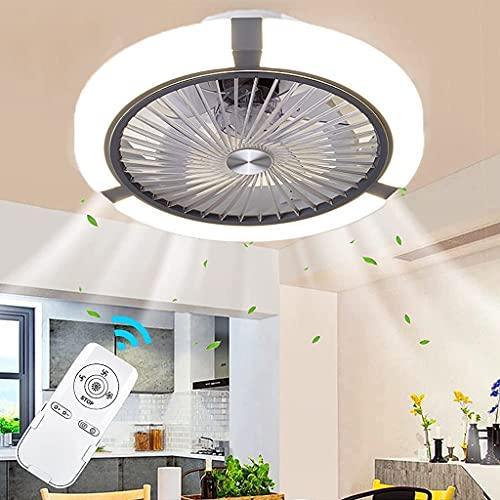 Ventilador De Techo Con Lámpara Ventilador De Creatividad Luz De Techo Silencioso Con Control Remoto LED Invisible Para Habitación Infantil Comedor Dormitorio Oficinas Fan Lámpara De Techo (Gray)