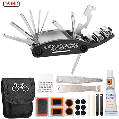 FOXNSK Bike Tool Kit, 16 in 1 Bike Multifunction Tool with Patch Kit & Tire Levers, Bike Puncture Repair Kit, Bike Cycling Repair Tools Bundle, Cycle Maintenance Kits Set with Pouch