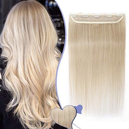 "16""-22"" Extensions Cheveux Clips Naturels Raide - Une Pièce - Remy Hair Grade 7A - Clip in Human Hair Extension (#613 BLOND TRES CLAIR, 40CM 45G)"