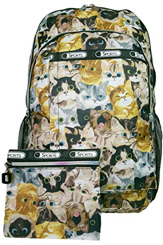 GFM Colourful Rucksack Backpack A4 FOLDERS School For Boys and Girls (Style 1-6215-MTLCT-KLBH), L, .Style 1 - Multi Cats (Mtlct-klbh)