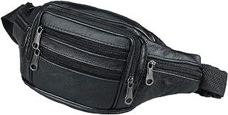 Pochete masculina de couro KESYOO com vários bolsos ajustáveis para cinto (preto)