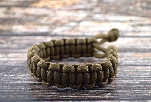 """Mad Max Fury Road Tom Hardy Paracord Adjustable Survival Bracelet - COYOTE BROWN - Size 8"""""""