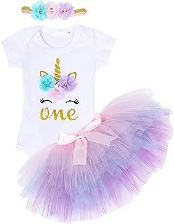 AmzBarley Baby Girls Skirt Sets Newborn 1st Birthday Outfit Toddler Unicorn Top Tutu Skirt Clothing Set