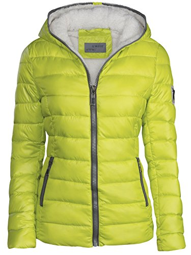 S'West Damen Winter Jacke GEFÜTTERT KURZ STEPP DAUNEN Optik Kapuze Skijacke WARM New, Größe:M, Farbe:Neon Gelb