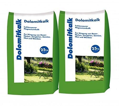 Hamann Mercatus GmbH 2x25 kg Dolomitkalk Rasenkalk - Zur Vorbeugung von Moosbildung im Rasen mit Calcium und viel Magnesium