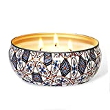AOM Citronella Candles Outdoor and Indoor Large Pure Soy Wax 3-Wick Scent Candle, 26-75 Hours Burning,100% Natural Soy Wax with Strongly Fragrance, 14 Oz- Pack of 1 (Pattern)