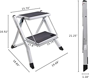 VI-CO Folding 2 Step Stool with Handgrip and Anti-Slip Platform, Portable Lightweight Step Ladder, 300 lbs Capacity
