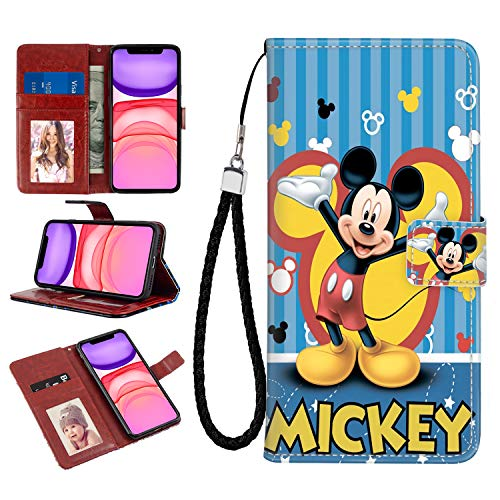 Disney Collection iPhone 11 Wallet Case Noble Snow White Cartoon Muster Design Kreditkartenhalter Magnetverschluss Flip Cover Stand Funktion für iPhone 11 6.1 Zoll (2019), Mickey Maus