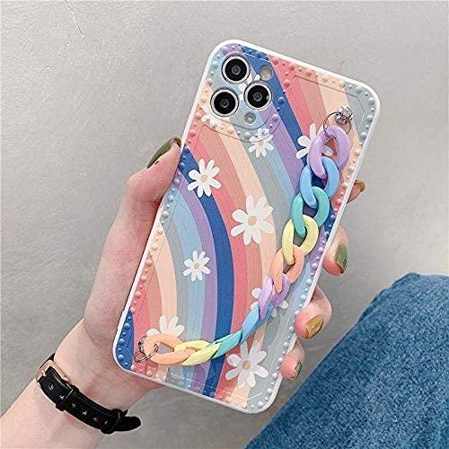 Caja del teléfono del Arco Iris de la Cadena de muñeca para el iPhone 12 11 Pro MAX XS XR 6s 7 8 Plus SE2020 Contraportada Transparente de TPU, Bosque, para iPhone11 Pro MAX
