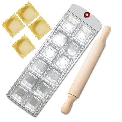 Euro Kitchen Ravioli Pasta Makers + Wooden Rolling Pin