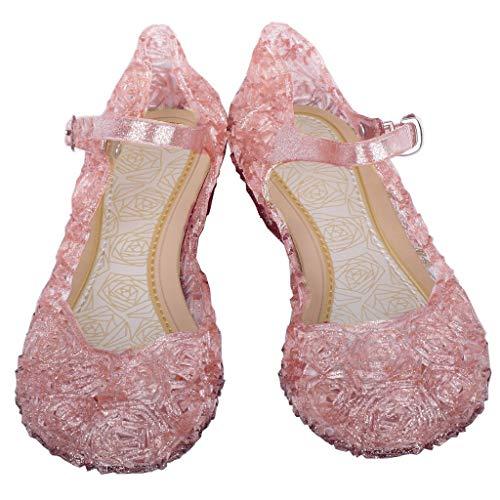 FRAUIT Kinder Mädchen Prinzessin Sandalen Kristall Schuhe Partei Glitzer Pumps Festlich Ballerina Karneval Verkleidung Kinder Kostüm Zubehör Casual Festlich Party Schuhe