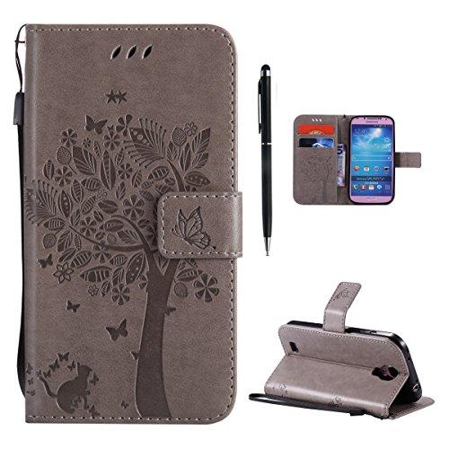Hancda Hülle für Samsung Galaxy S4 Mini [Nicht für S4] Hülle Leder Flip Case, Schutzhülle Ledertasche Handyhüllen Cover Magnet Geldbörse Stoßfest Handytasche für Samsung Galaxy S4 Mini,Hülle Grau