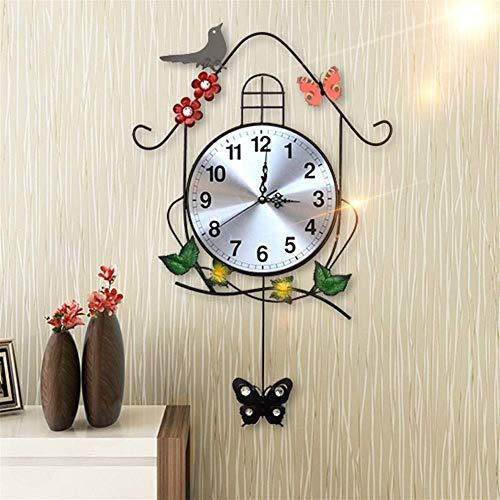 WYZQ Reloj de Pared Sala de Estar Mudo Columpio Creativo Decoración de pajarito Arte de la Personalidad Reloj de jardín de Hierro Forjado Europeo Reloj de Pared Colgante con Relojes de péndulo