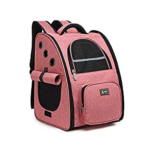 BELPRO Cat Backpack Carrier, Small Dog Backpack Carrier for Small Dogs Puppies with Ventilated Design, Airline Approved, Collapsible | for Travel, Hiking, Outdoor(Pink)