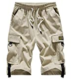 VtuAOL Men's Cargo Shorts Elastic Waist Casual Cotton Shorts with Multi Pockets Khaki Asian 7XL/US 42