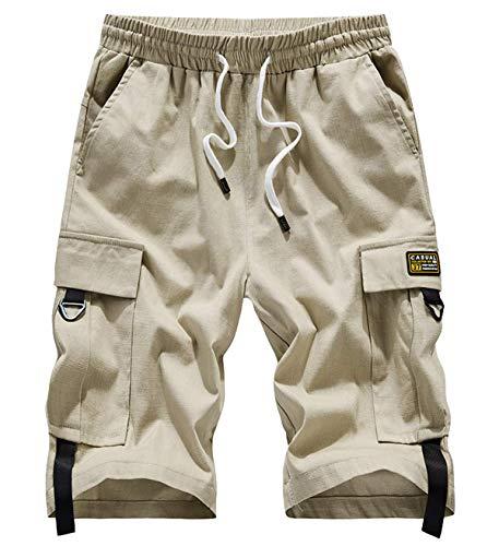 VtuAOL Women's Casual Elastic Waist Cargo Shorts Multi-Pockets Shorts with Drawstring Khaki Asian 5XL/US 16-18