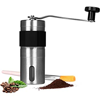 HAOCOO手挽きコーヒーミル セラミックカッター ステンレス コーヒーミル手動ブラシ付き (4.5cm'*13.2cm)
