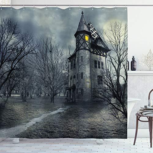 ABAKUHAUS Halloween Duschvorhang, Gothic Geisterhaus, Wasser Blickdicht inkl.12 Ringe Langhaltig Bakterie & Schimmel Resistent, 175 x 200 cm, Teal Grau