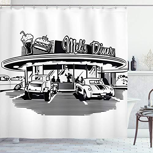 ABAKUHAUS Retro Duschvorhang, Retro-Auto, Bakterie Schimmel Resistent inkl. 12 Haken Waschbar Stielvoller Digitaldruck, 175 x 200 cm, Schwarz weiß