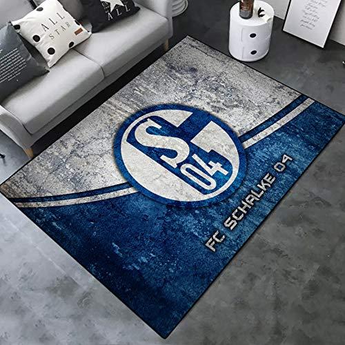 INSTUS Teppich Einfach Kunst Dekoration Teppich Fußball Verein Logo Drucken rutschfeste Matte Kinderzimmer Dekoration Fußbodenteppich/Schalke / 100 * 160cm