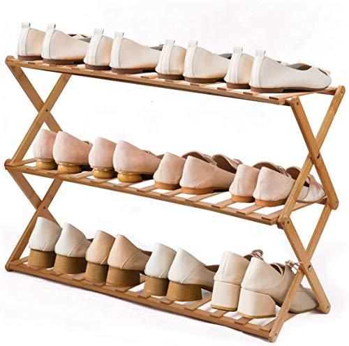 Zapatero de bambú de 3 niveles, apilable, no requiere montaje y duradero estante de almacenamiento, torre de zapatos que ahorra espacio para 9 – 12 pares