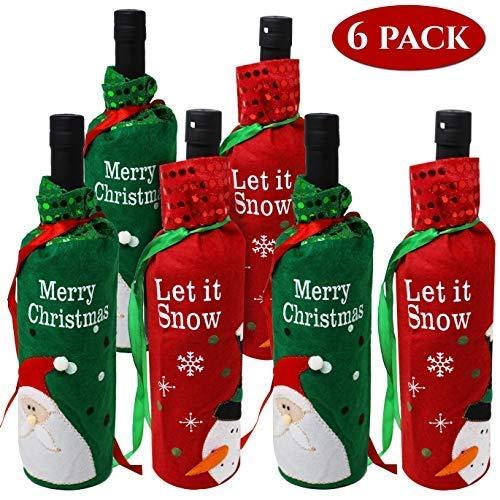 Moji Bags 6er Set Weihnachten Weinflasche Taschen - 2 Weihnachten Designs - Perfekt für Weinflasche Ideales Weihnachtsfest Dekor - für Ihren Weihnachtstisch & Wein Dekoration