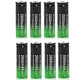 18650 Batería Recargable de Iones de Litio de 3,7 V 5800 mAh Baterías de botón de Gran Capacidad para Linterna LED, Dispositivos electrónicos, etc. 4/8 Piezas (Negro + Verde) (4 pcs) (8 pcs)