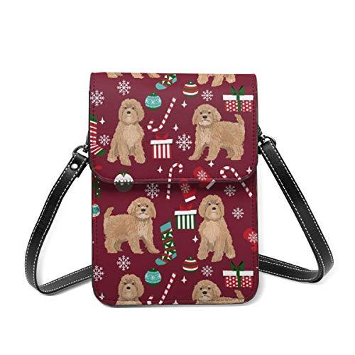Bolso de hombro pequeño, Cavoodle, color beige, regalo de Navidad, copos de nieve, para perro, bolsa cruzada para teléfono celular, cartera ligera para mujeres y niñas