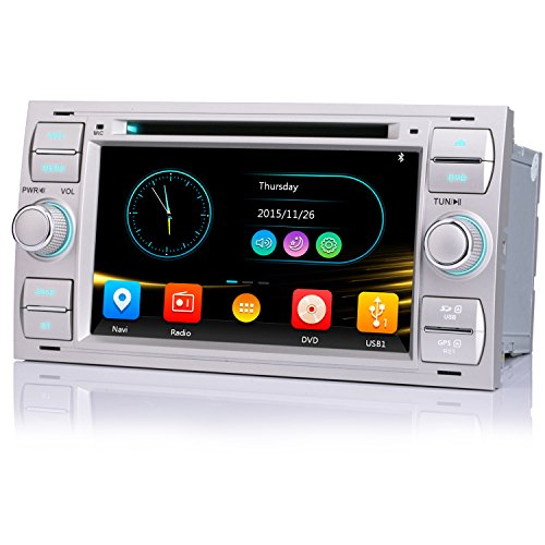 iFreGo 7 Zoll 2 Din Autoradio Für Ford Focus/C-max/S-max/Galaxy/Fusion/Transit GPS Navigation, Autoradio DVD CD Autoradio Bluetooth,Autoradio DAB+