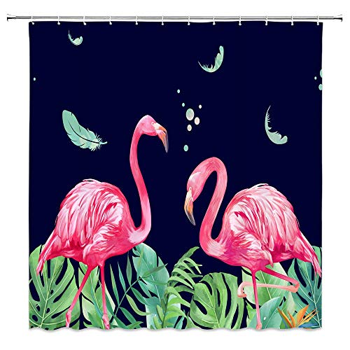 WZFashion Flamingo Shower Curtain, Red Flamingo Watercolor Painting Migratory Tropical Birds Animal Pink Scene Feather Lake Girls Women Art Vintange Cute Bathroom Curtains Fabric with Hook