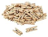 Itenga 80x pinzas decorativas de 2,5cm de madera, mini pinzas de madera, pinzas de la ropa, mini pinzas de madera, pinzas para decorar, tamaño: aprox. 2,5