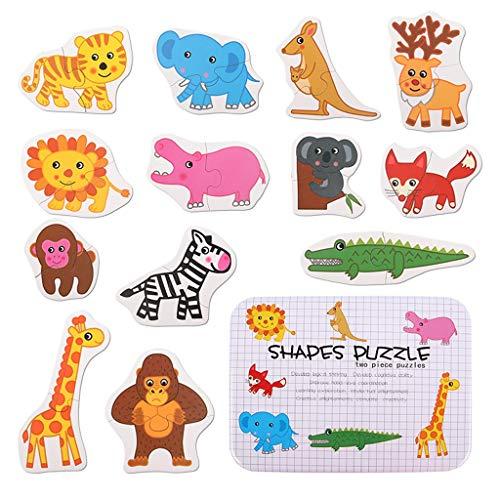 Puzzles Spielzeug Frühkindliche Bildung Frühe Intelligenz Gehirn 24 Kinder 3 Jungen EIN bis Zwei Jahre alt Spielzeug Tiere Brainteaser (Color : Animal A)