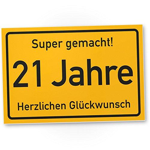 Bedankt! 21 jaar stadstad bord/plastic bord - Cadeau 21e verjaardag, cadeau-idee verjaardagscadeau eenwandig, verjaardagsdeco/party accessoires/verjaardagskaart