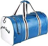 Sac polochon avec Compartiment à Chaussures, Cuir PU résistant à l'eau Sports Gym Travel Weekender Bagages Sac à vêtements avec bandoulière pour Hommes et Femmes (Bleu)