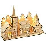 WeRChristmas Dorf aus Holz mit Kirche, 35 cm, beleuchtet, Weihnachtsdekoration, mit 12 Warm-weißen LED-Leuchten