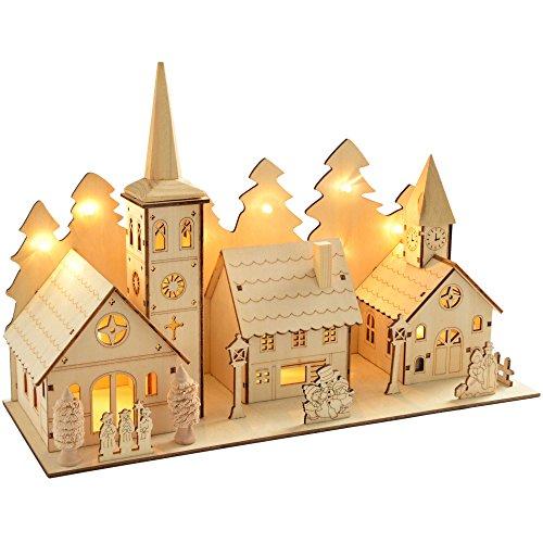 WeRChristmas 35 cm en bois pré-illuminé et scène de l'église de Village de Noël illuminé avec 12 LED Blanc chaud