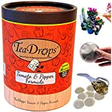 TeaDrops Organic Tomato + Pepper + Eggplant Fertilizer  16 Liquid Vegetable Plant Food Packets  Make up to 32 Gallons (Easy, No Urea, Ecofriendly)