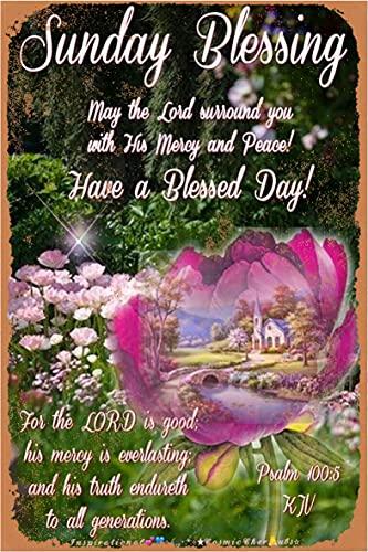 Sunday Blessing May The Lord Awiiound You 20 x 30 cm Iron Retro Look Placa de decoración para el hogar, cocina, baño, granja, jardín, garaje, citas inspiradoras decoración de pared