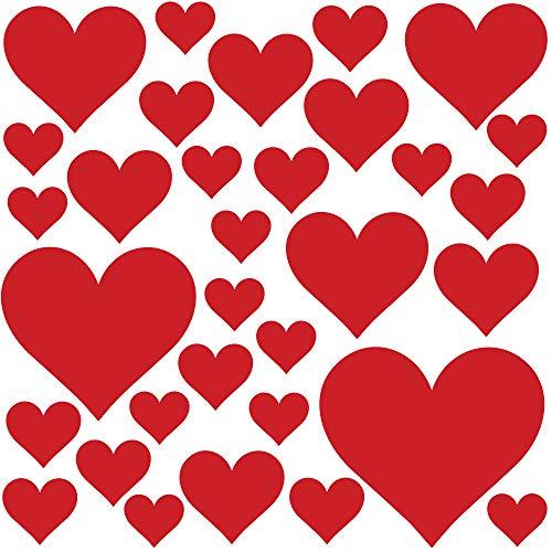 PREMYO 32 Herzen Wandsticker Kinderzimmer Mädchen Jungen - Wandtattoo - Wandaufkleber Selbstklebend Rot