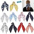 10 Pcs Chiffon Hair Scrunchies Elastic Hair Bands Hair Scarf Floral Hair Ties 2 in 1 Vintage Ponytail Holder Hair Accessories for Women Girls