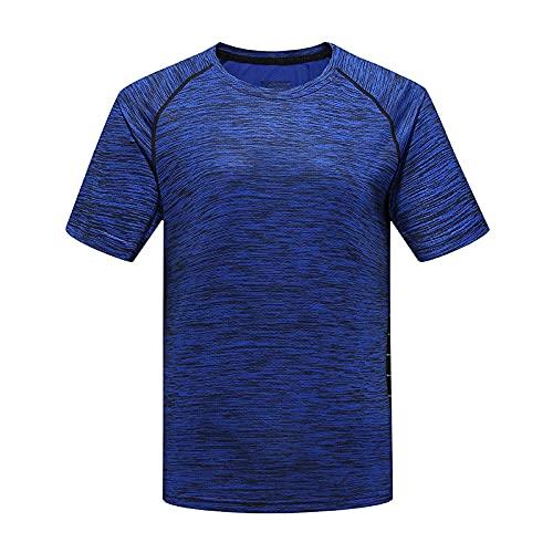 DamaiOpeningcs Camiseta de secado rápido, para hombre y mujer, de verano, de manga corta, de secado rápido, cuello redondo, media manga, parte inferior, color azul, talla 4XL