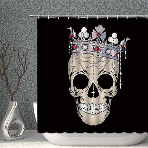 N\A Skull Queen Decor Duschvorhang Halloween Skeleton Woman mit Royal Crown Black & Tan Stoff Badvorhänge Wasserdichtes Polyester mit Haken