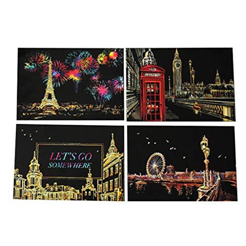 Lyguy - Pintura para rascar para niños, Bricolaje, Tarjeta Postal a Mano Colorida, Juego de Regalo de cumpleaños Creativo para niños y niñas
